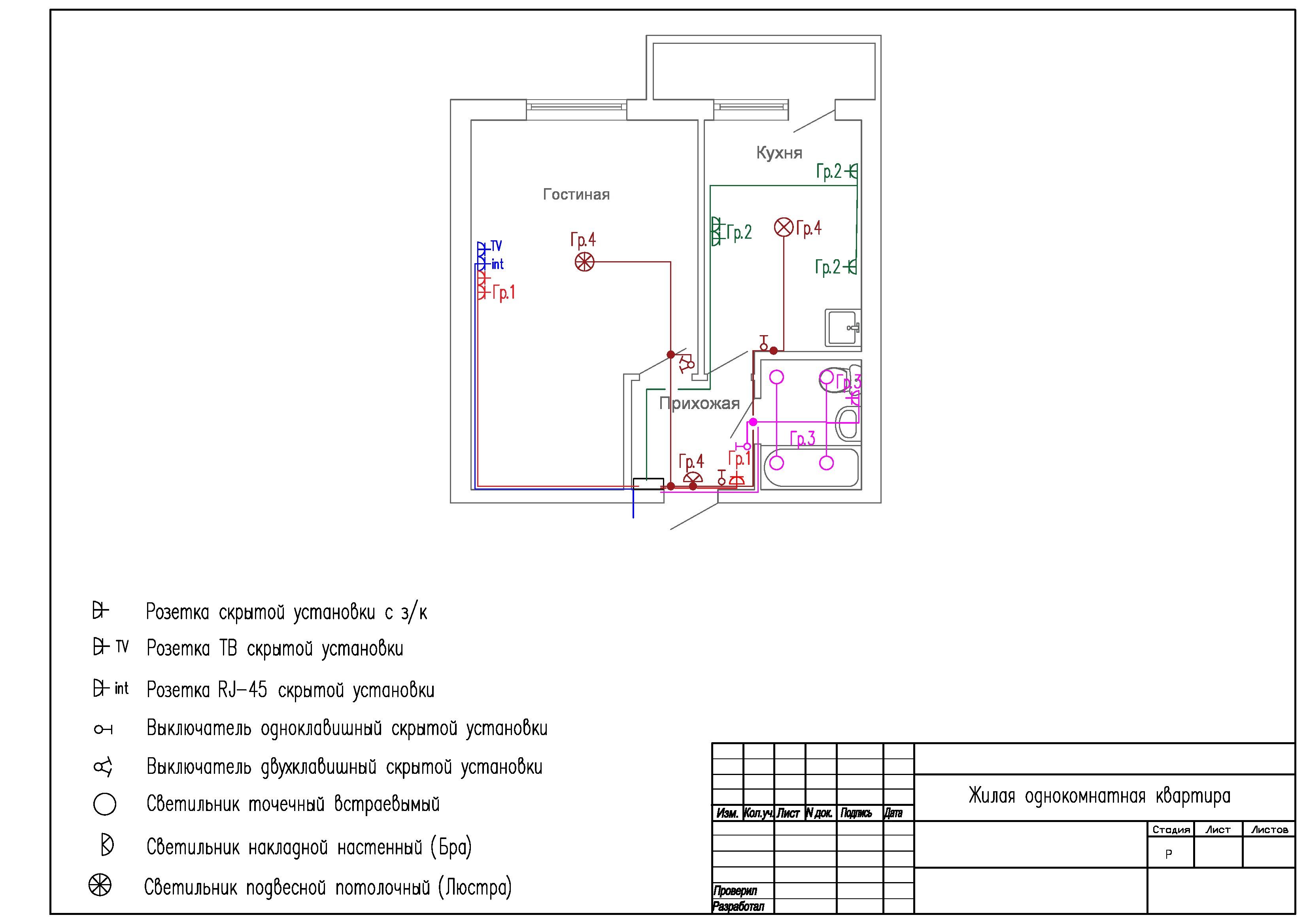 Электропроводка в 1 комнатной квартире